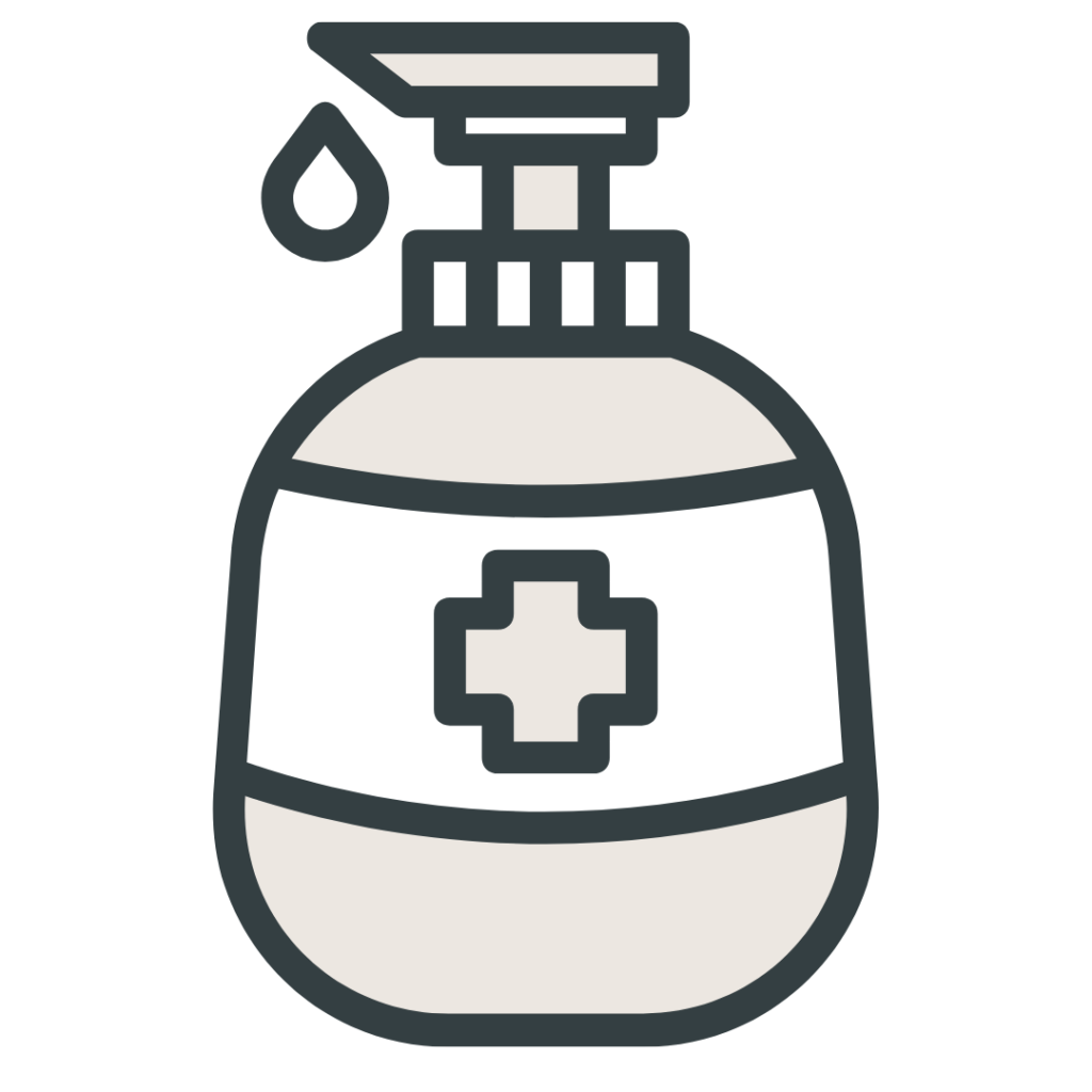 Liquid pump dispenser with medical label icon