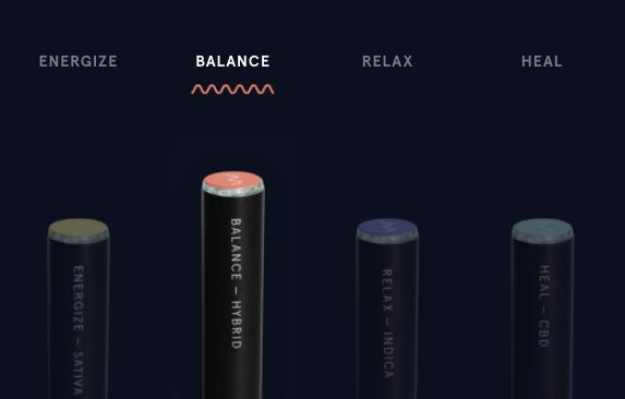 Rythm' vape pens types 'Energize - Sativa' 'Balance - Hybrid' 'Relax - Indica' 'Heal - CBD'
