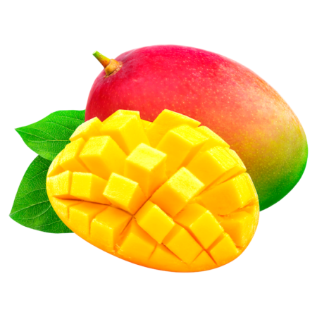 mango fruit whole and sliced on white background