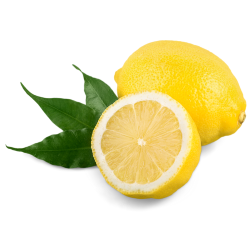 lemon fruit whole and sliced on white background