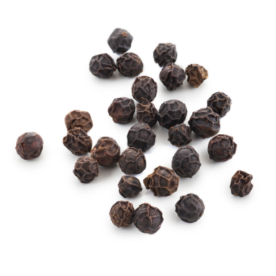 scattered peppercorn on white background